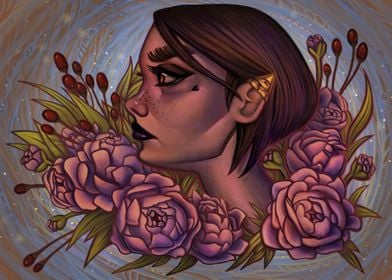 A digital painting of a girl in a sea of beautiful, blo ...