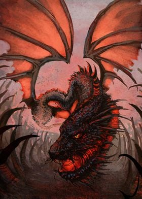 A digital painting of a fire-breathing dragon, spanning ...