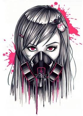 Neon Gas Mask Girl