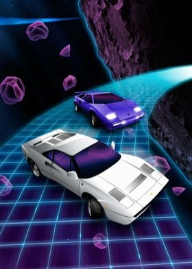 80's super cars Lambo and 288GTO drifting through space ...