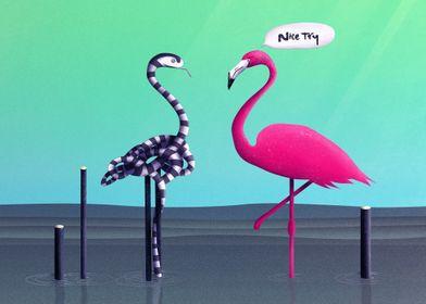 Nice Try, Flamingo! | Digital Art, 2017