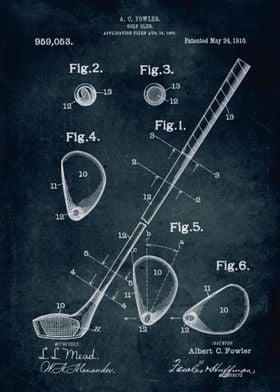 No109 - 1909 - Golf Club - Inventor Albert C. Fowler