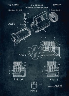 No115 - 1961 - Pin tumbler cylinder key system - Invent ...