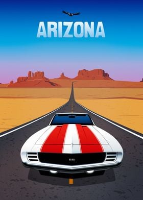 A classic muscle car driving on Route 66 in Arizona. Do ...