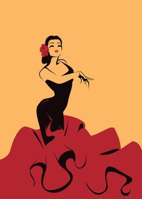 Edged graphic art with Flamenco dancer in  impressive   ...
