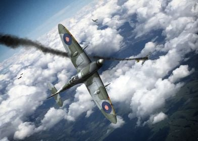 Spitfire scores a kill on a luftwaffe FW-190 during WW2 ...