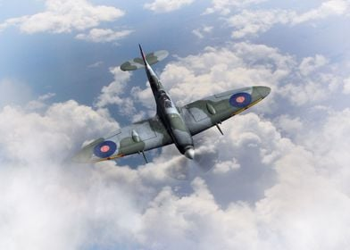 Royal Air Force Spitfire in the clouds