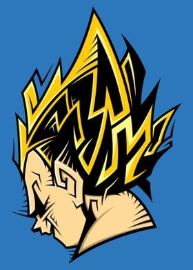 Tribal-Art Design of SSJ Vegeta from DragonBall.