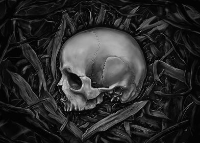 Rest - Painting skull in black and white.