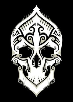 Tribal-Art Filigree Skull.