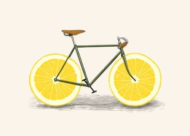 An old bike with slice of a lemon as the wheels