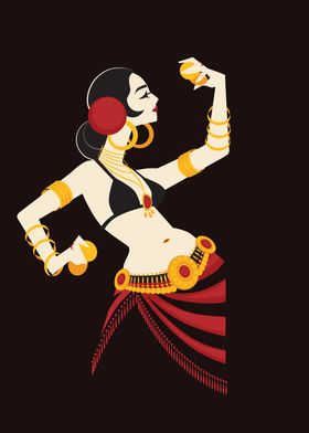 Tribal belly dancer holding cymbals in impressive expre ...