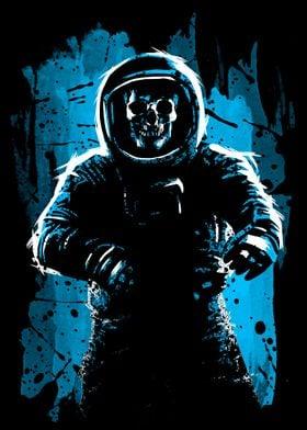 Astronaut Skull Blue