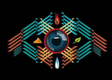An all seeing eye is surrounded with earth's elements