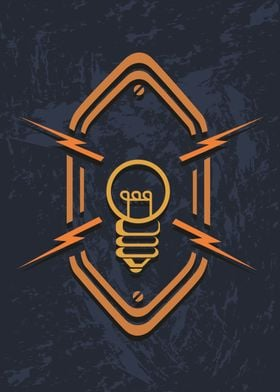 A vintage steampunk lightbulb with sparks or lightning  ...