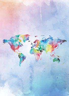 World map aquarel pastel