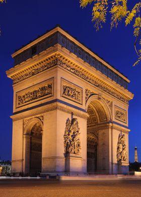 Arc de Triomphe at beautiful evening lightning