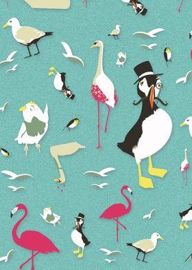 Party Birds Pattern | Digital Art, 2017
