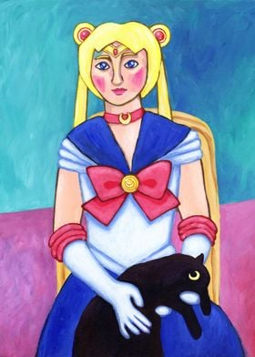Usagi with a Black Cat