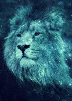 Leo Lion Pensive Turquoise Blue