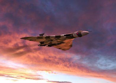 Avro Vulcan Bomber XH558 sunset