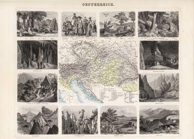 Austria vintage map - 1863