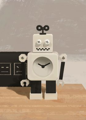 white robot clock