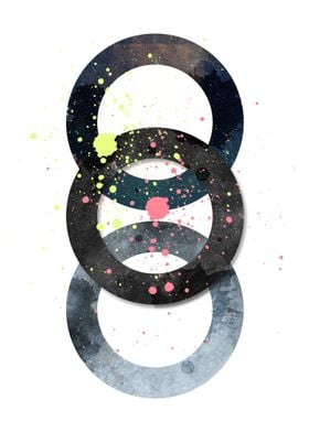 Circles and paint splashes