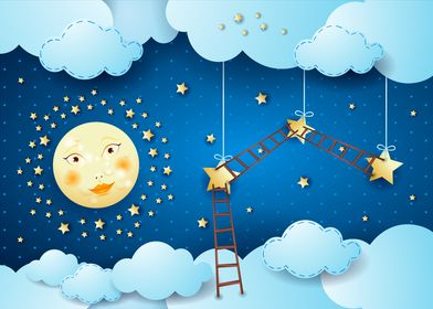 Surreal night with moon stars and ladders