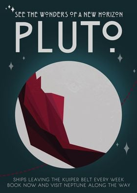 Pluto - Vintage Space Travel Poster