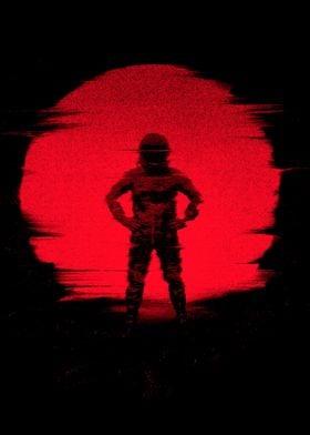 red sun astronaut
