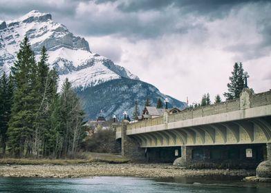 Cascade Mountain from the Bow River Bridge