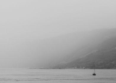 fogged boat