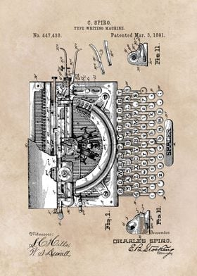 patent art Spiro 1891 Type writing machine
