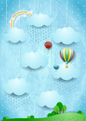 Surreal landscape with hot air balloons and rain