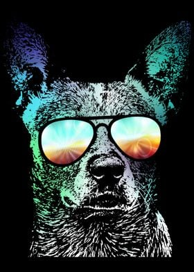 Neon Australian Cattle Dog Art
