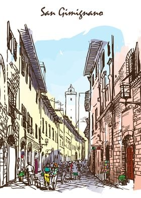 Sketches from Italy - San Gimigniano 03