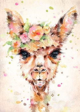 Little Llama (water colour art)