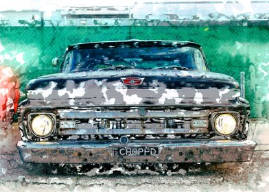 Ford Pickup Lowrider - Watercolour