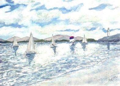 Sailboats Beach Art