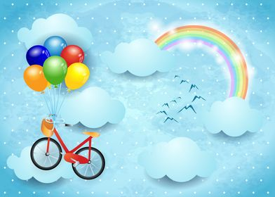 Surreal sky with bicycle and balloons