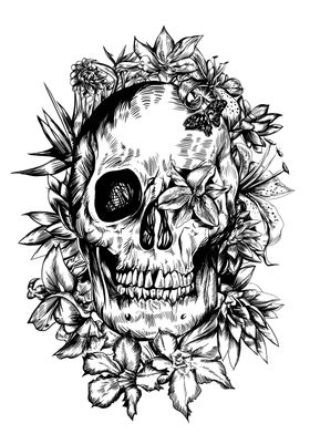 tropical skull black and w