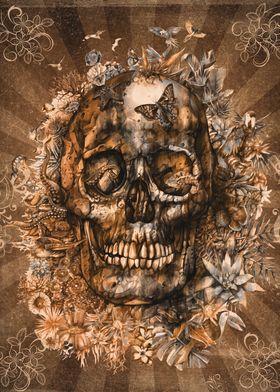 tropical floral skull sepi