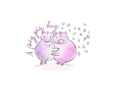 A pig pig hug
