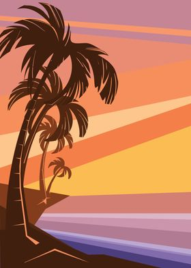 fantasy tropic ocean sunset with palms
