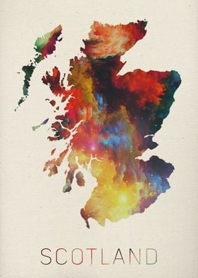 Scotland Watercolor Map