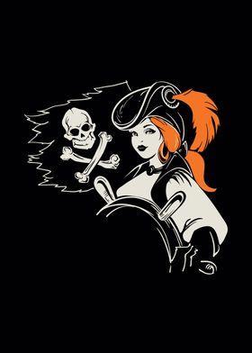 Pirate girl helmsman under Jolly Roger flag
