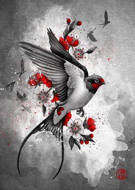 swallows and sakuras