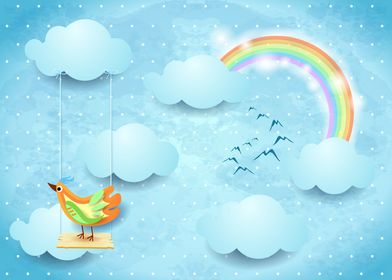 Surreal sky with bird and swing