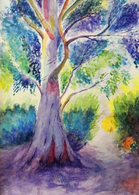 Watercolor Colorful Tree